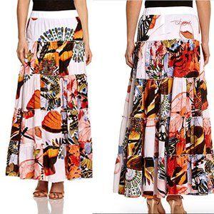 Desigual Lescor Tiered Floral Print Maxi Skirt 6